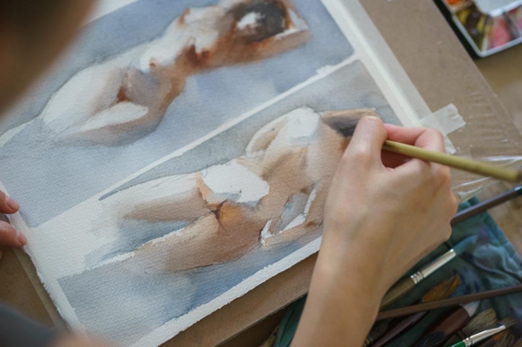 Мастер-класс в школе рисования акварелью